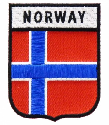 Norway Flag Shield Patch, Country Flag Patches