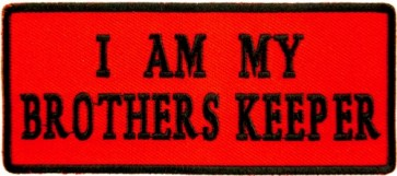 I Am My Brother's Keeper Red Patch, Biker Sayings Patches