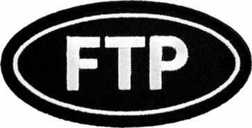 FTP Black & White Oval Patch, Funny Patches