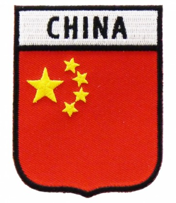 China Flag Shield Patch, Country Flag Patches