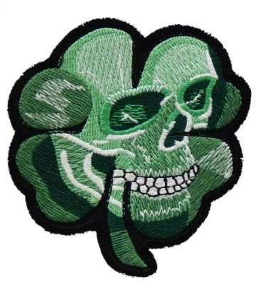Green Shamrock Skull Patch, Irish Biker Patches