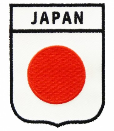 Japan Flag Shield Patch, Country Flag Patches