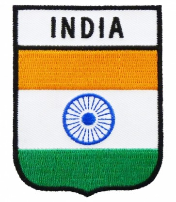 India Flag Shield Patch, Country Flag Patches