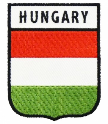 Hungary Flag Shield Patch, Country Flag Patches