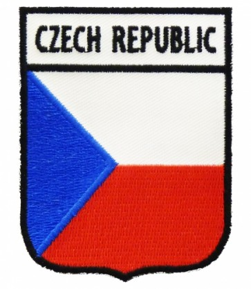 Czech Republic Flag Shield Patch, Country Flag Patches