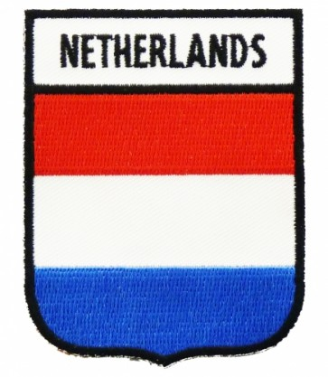 Netherlands Flag Shield Patch, Country Flag Patches