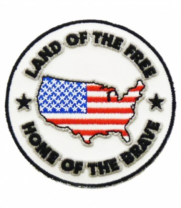 Land of The Free America U.S. Flag Patch, Patriotic Patches
