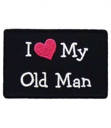 I Love My Old Man Pink Heart Patch, Ladies Patches