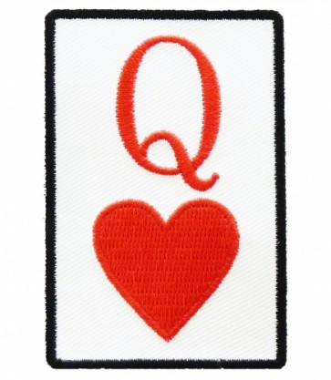 Queen of Hearts Playing Card Patch, Ladies Patches
