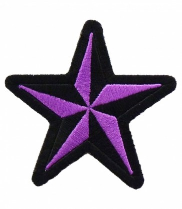 Nautical Star Purple & Black Patch, Star Patches