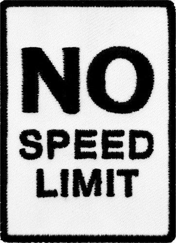 No Speed Limit Road Sign Patch, Biker Patches