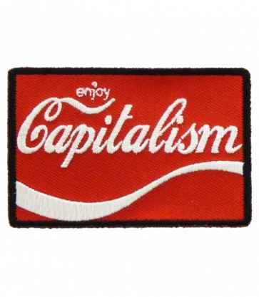 Enjoy Capitalism Red & White Patch, Political Patches