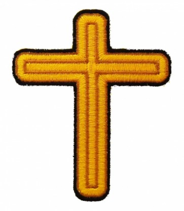 Gold Wooden Cross Patch, Religious Cross Patches