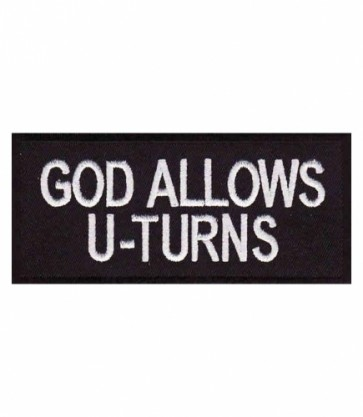 God Allows U-Turns Patch, Christian Biker Patches