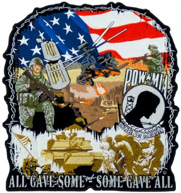 POW MIA War History Memorial Patch, Military Back Patches