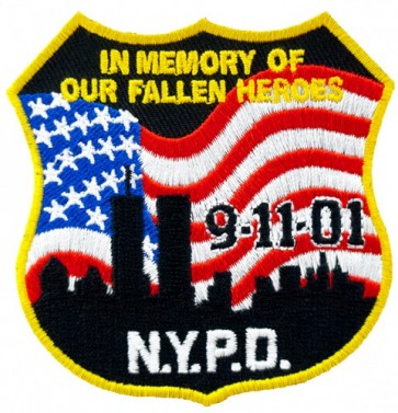 NYPD 9-11 In Memory US Flag Patch, 9-11 Patches