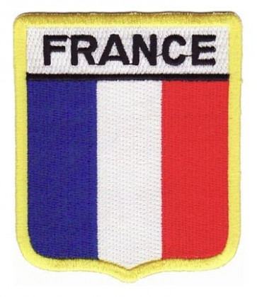 France Flag Shield Patch, Country Flag Patches