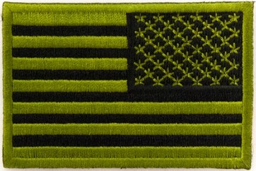 Embroidered American Flag Green & Black Reversed Patch