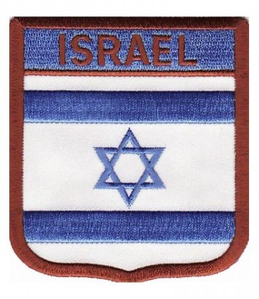 Israel Flag Shield Patch, Country Flag Patches