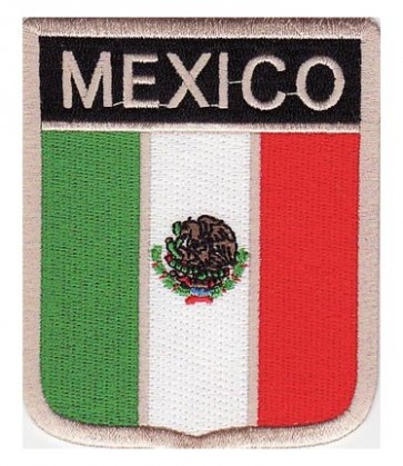 Mexico Flag Shield Patch, Country Flag Patches