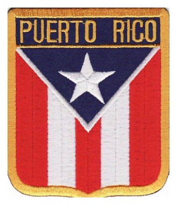 Puerto Rico Flag Shield Patch, Country Flag Patches