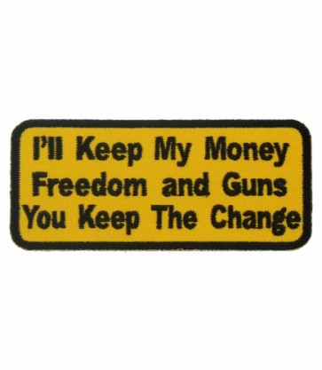 Money Freedom & Guns Yellow Patch, Patriotic Patches