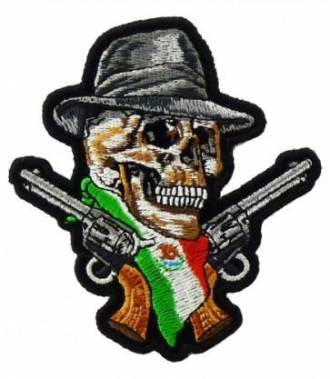 Mexican Flag Skull & Guns Patch, Skull Patches