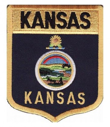 Kansas State Flag Shield Patch, 50 State Flag Patches