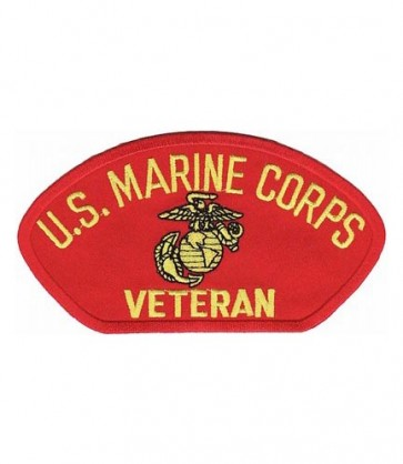 U.S. Marines Veteran Red Hat Patch, Military Cap Patches