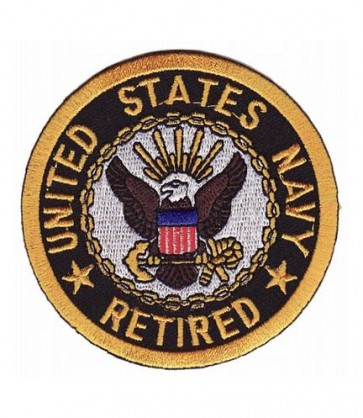 Navy Retired Eagle Round Patch, Military Patches