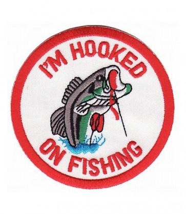 Hooked On Fishing Patch, Embroidered Patches