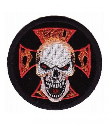Skull & Flaming Cross Round Patch, Skull Biker Patches