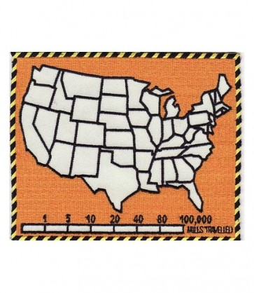 50 States Map & Mile Tracker Orange Patch, Biker Patches
