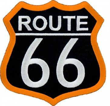 Route 66 Road Sign Black Patch, Biker Patches