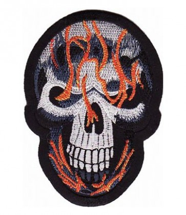 Skull With Blue & Orange Flames Patch, Skull Patches