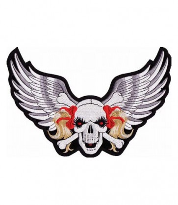 Red Ribbon Skull & Grey Wings Patch, Ladies Patches