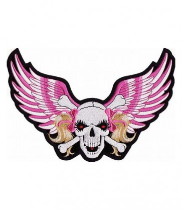Pink Ribbon Skull & Pink Wings Patch, Ladies Patches
