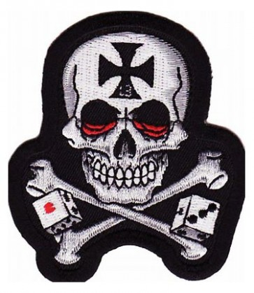 Skull & Crossbones With Dice Patch, Skull Patches