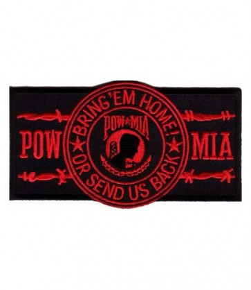 POW Red Barbed Wire Patch, POW MIA Patches