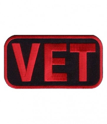 Red And Black Vet Patch, Military Veterans Patches