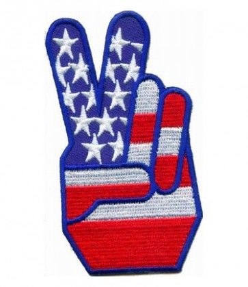 American Flag Peace Fingers Patch, Patriotic Patches