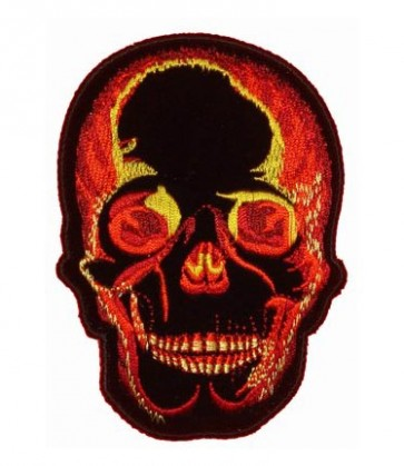 Red & Yellow Fire Skull Patch, Skull Biker Patches
