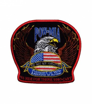 POW MIA We Ride Eagle Patch, Military Biker Patches