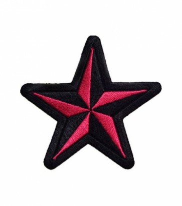 Nautical Star Pink & Black Patch, Star Patches