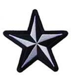 Nautical Star White & Black Patch, Star Patches