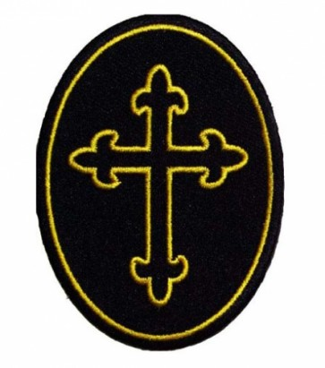 Oval Yellow Cross Patch, Religious Cross Patches