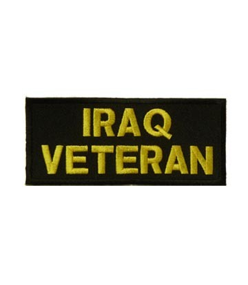 Iraq Veteran Yellow & Black Patch, Military Patches
