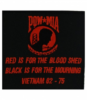 POW MIA Red Is For Blood Shed Patch, POW MIA Patches