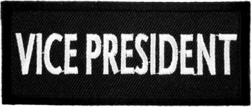 Vice President Black & White Patch, Biker Club Patches