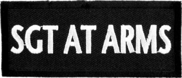 Sgt At Arms Black & White Patch, Biker Club Patches